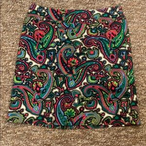 Talbots petite size 10 skirt paisley blue and pink